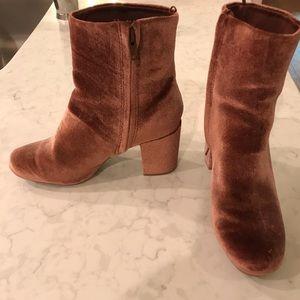 blush velvet boots
